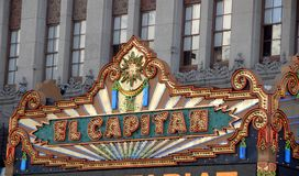 El Capitan Theatre. Entrance with dazzling lights on hollywood boulevard los angeles california stock photography