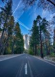 EL Capitan visto dal letto della valle di Yosemite in Yosemite Nati immagine stock