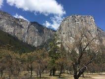 EL Capitan y cascada en el parque nacional de Yosemite foto de archivo
