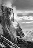 El Capitan, Yosemite National. View Of Morning Light Striking El Capitan, In California's Yosemite National Park After A Fresh Winter Snow Storm ~ Black & White Royalty Free Stock Image