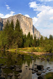 El Capitan Yosemite National Park California. El Capitan viewed from across the Merced River in the valley floor of Yosemite National Park, California, USA Royalty Free Stock Photo