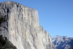 El Capitan, Yosemite National Park, California, zoomed in view from Tunnel View. 900 m high vertical monolith granite formation, world`s favorite challenges Royalty Free Stock Photography