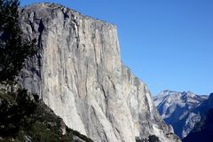 El Capitan, Yosemite National Park, California, zoomed in view from Tunnel View Royalty Free Stock Image