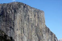 El Capitan, Yosemite National Park, California, zoomed in view from Tunnel View. 900 m high vertical monolith granite formation, world`s favorite challenges Royalty Free Stock Photo