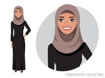 El carácter árabe de las mujeres es feliz y sonrisa stock de ilustración