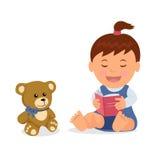 El carácter aislado del niño está leyendo un libro mientras que se sienta en el piso en un estilo plano Fotografía de archivo libre de regalías