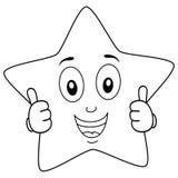 El carácter brillante de la estrella que colorea manosea con los dedos para arriba Foto de archivo