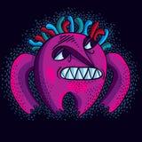 El carácter cómico púrpura, vector al monstruo extranjero divertido Ex emocional Imágenes de archivo libres de regalías