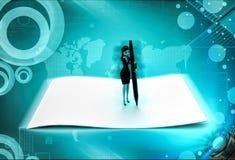el carácter 3d escribe en el papel grande usando el ejemplo grande de la pluma Foto de archivo libre de regalías
