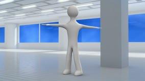 el carácter 3d hace los ejercicios para una espina dorsal en un gimnasio bucle stock de ilustración