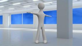 el carácter 3d hace los ejercicios para una espina dorsal en un gimnasio Front View bucle libre illustration