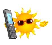 el carácter de 3d Sun charla en un teléfono móvil Imágenes de archivo libres de regalías