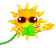 el carácter de 3d Sun conecta la energía verde Foto de archivo
