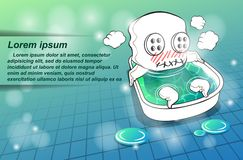 El carácter de la mascota está tomando un baño stock de ilustración
