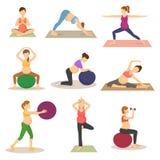 El carácter de la mujer embarazada del vector del embarazo de la aptitud hace yoga o ejercicios con el sistema del ejemplo del fi stock de ilustración