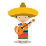 El carácter de México se vistió de la manera tradicional con la guitarra Fotografía de archivo