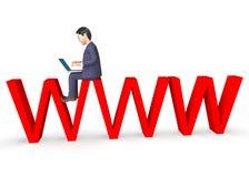 El carácter de WWW muestra la representación del World Wide Web y del negocio 3d Fotos de archivo libres de regalías