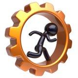 El carácter del hombre de la rueda dentada que funcionaba con la rueda de engranaje interior estilizó Stock de ilustración