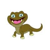 El carácter del lagarto con vista delantera y abre el ojo Imagen de archivo