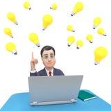 El carácter del ordenador portátil muestra el World Wide Web y al hombre de negocios 3d Renderi Fotografía de archivo libre de regalías