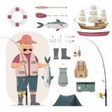 El carácter del pescador que sostiene un pescado grande y una caña de pescar incluyen stock de ilustración