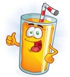 El carácter del zumo de naranja manosea con los dedos para arriba Foto de archivo libre de regalías