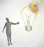 el carácter humano 3d es traje del cuerpo que mira el lig colorido abstracto Imágenes de archivo libres de regalías