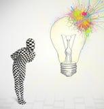 el carácter humano 3d es traje del cuerpo que mira el lig colorido abstracto Imagenes de archivo