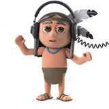 el carácter indio del nativo americano divertido de la historieta 3d lleva los auriculares Foto de archivo