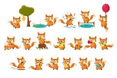 El carácter lindo del cachorro del zorro que hacía diversas actividades fijó, animal divertido del bosque en diversos ejemplos de ilustración del vector