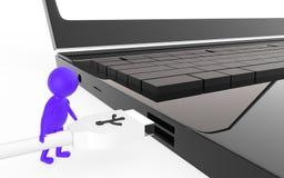 el carácter púrpura 3d es alrededor enchufar un cable del usb a un puerto de usb del dispositivo Foto de archivo libre de regalías