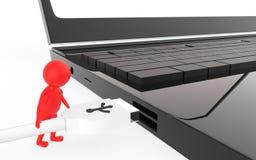 el carácter rojo 3d es alrededor enchufar un cable del usb a un puerto de usb del dispositivo Imagen de archivo libre de regalías