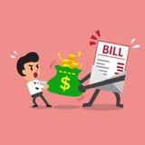 El carácter y el hombre de negocios del pago de la cuenta de la historieta hacen esfuerzo supremo con el bolso del dinero Foto de archivo libre de regalías