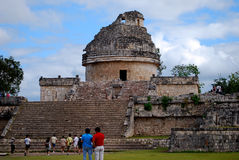 El Caracol Chichen Itza. Is located to the north of Las Monjas. It is a round building on a large square platform. The structure, with its unusual placement on royalty free stock images