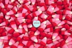 El caramelo de la tarjeta del día de San Valentín Foto de archivo