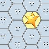 El carácter divertido de la estrella deforma la frontera de una célula en el medio de grupo ordinario de los hexágonos Fotografía de archivo libre de regalías