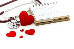 El cardiograma con el estetoscopio y el corazón rojo, golpes de corazón de A representa el co gráficamente fotos de archivo