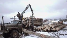 El cargador de la garra de la grúa descarga los registros de madera del camión pesado en la instalación de la serrería metrajes