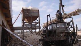 El cargador industrial de la garra descarga los pedazos de la madera de construcción del camión pesado en la fábrica de la serrer almacen de video