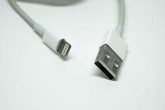 El cargador masculino usado y los datos del USB llevan el cable Imagen de archivo