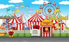 El carnaval con muchos monta y hace compras stock de ilustración