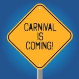 El carnaval del texto de la escritura está viniendo Festival público del significado del concepto que muestra el diamante del esp ilustración del vector
