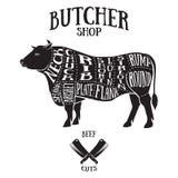 El carnicero corta el esquema de la carne de vaca Fotos de archivo