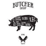 El carnicero corta el esquema del cerdo Fotografía de archivo libre de regalías