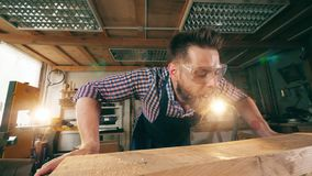 El carpintero sopla virutas de madera ausentes de una tabla Funcionamiento mayor del carpintero metrajes