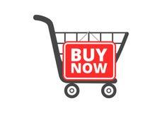El carro de la compra con la compra ahora firma, abotona, icono Foto de archivo libre de regalías