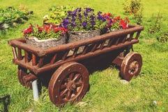 El carro de madera en hierba verde con la floración florece en diversos colores Foto de archivo