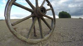 El carro de madera resistido rústico del caballo rueda adentro el campo, lapso de tiempo 4K almacen de metraje de vídeo