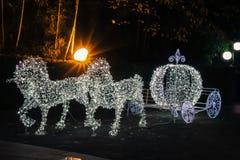 El carro del caballo tiene una luz blanca hermosa Fotografía de archivo libre de regalías