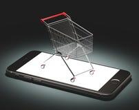 El carro en el smartphone, haciendo compras en línea, editorial, ejemplo rinde 3d Imagen de archivo
